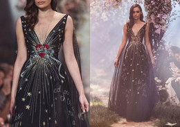 Wholesale Beads Making Designs - Paolo Sebastian Prom Dresses Deep V Neck Applique Beads Floor Length Black Evening Gown Bling Unique Design Formal Dress Party Evening Wear