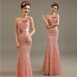 Wholesale New Retro High Neck - 2015 new fashion one-shoulder mermaid formal evening dress luxury appliques retro embroidery sexy lace elegant dinner party prom dresses