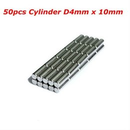 Wholesale Permanent Rods - 50pcs Bulk Neodymium Fridge Warhammer Craft Magnets Dia 4mm x 10mm N35 Super Strong NdFeB Bar Cylinder Rod Magnet Free shipping