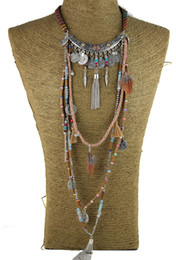 Wholesale Tribal Collar Necklace - Wholesale-Gypsy Statement Vintage Long Necklace Ethnic jewelry boho necklace tribal collar Tibet Jewelry