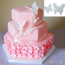 Wholesale Set Butterfly Mold - Wholesale- 2X Butterfly Cake Fondant Decorating Sugarcraft Cookie Cutters Tool Mold 8C7C