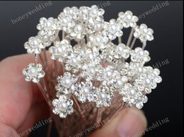 Wholesale Flower Clips Headbands - Bridal Hair Accessories Tiaras Hair Pins 5Pcs Lady's Rhinestone Bridal Wedding Flower Pearls Crystal Headband Hair Clip Pins