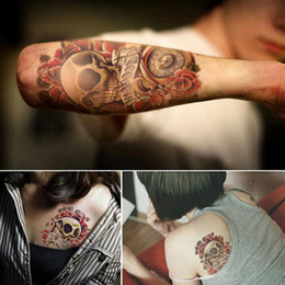 Wholesale Skull Arm - Punk Skull Pattern Temporary Tatto Waterproof Men Temporary Tattoo Arm Sticker Sleeve Body Tattoo Shoulder Tattoos