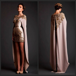 Wholesale Black Triangle Shawl - 2015 Special Krikor Jabotian Two Piece Prom Dresses Crew Neck Applique with Bead Mini Length Detachable Shawl Long Train Formal Prom Gown
