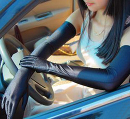 Wholesale Wholesale Long Black Gloves - Long Spandex Driving Gloves Summer UV Protection 54cm Mix Color 10prs Lot Free Shipping 0301B7