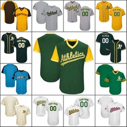 Wholesale Base Number - Custom Oakland Baseball Jerseys mens Womens Youth White Home Gray Road Blcak Green Stitched Any Name Any Number Flex Base Cool Base Jerseys