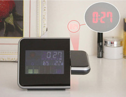 Wholesale Digital Led Projector Clock - Digital LCD Screen LED Projector Alarm Clock Weather Station Dropshipping Wholesale H8627