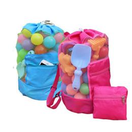 Bolsas de arena de nylon online-Los juguetes de playa para niños reciben una bolsa de arena plegable de malla lejos de toda la arena Caja de arena para niños Carcasa de almacenamiento Red de arena Ausente Bolsa de malla de playa Mochila
