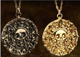 Wholesale Gold Initials - Pirates of the Caribbean Aztec Gold Coin Necklace Men Skull Sweater Pendant Jewelry #71026