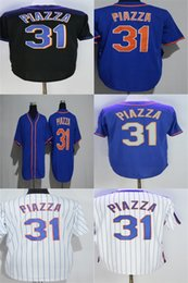 Wholesale Cheap Pinstripe Baseball Jerseys - Factory Outlet Mens Womens Kids Toddlers New York 31 Mike Piazze Black Blue Pinstripe White Best Quality Cheap Stitched Baseball Jerseys