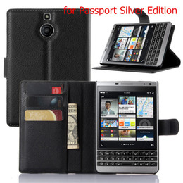 Wholesale Cell Phone Covers Blackberry - BB Priv Luxury Business Style Flip Wallet PU Leather Case Cover For Blackberry Passport Q30 Cell Phone Case With Card Holder Stand