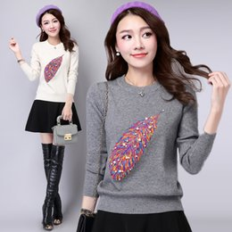 Wholesale Korean Batwing Fashion - Korean Knitted Women Sweaters embroidered Beading Pullover shirt fashion O-Neck Slim Ladies Sweater 2017 Spring Autumnn sweaters