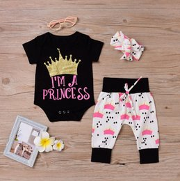 Wholesale Girls Size Pants - Baby girls rompers letter printed newborn babies one-pieces clothes+headband+pant 3pcs set kids toddler Christmas Birthday party jumpsuit