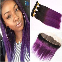 Vierge ombre violet cheveux en Ligne-Virgin Indian Purple Ombre Weaves avec Dentelle Frontale Droite 1B Purple Ombre 13x4 Fermeture Frontale Full Lace avec 4 faisceaux