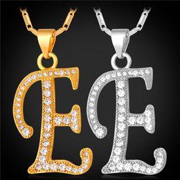 Wholesale Alphabet Slides - U7 Initial E Pendant Alphabet Necklace Romantic Cubic Zirconia Pltinum 18K Real Gold Plated Fashion Women Men Jewelry Perfect Gift