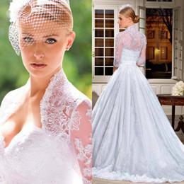 Wholesale Cheap Retro Dress - Retro Lace Vintage 3 4 Long Sleeves Bridal Gowns Wedding Dresses Portrait A-line Illusion Back Lace Court Train Bridal Dresses Cheap