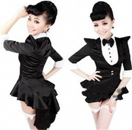 Wholesale Jazz Dresses Costumes - Women Opening Stage Unifoms Black Tuxedo Jazz Dance Costumes DS Broadway Bar Nightclub Magician Dress + The Shorts + the Socks