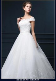 Wholesale Thin Crystal Wedding Sashes - 2016 Cheap Price !Wedding dress spring show thin neat, sexy shoulders with the bride wedding dress with short sleeves