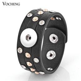 Canada NOOSA Snap Charms Bracelet 4 Couleurs 18mm Bouton Bijoux En Cristal Incrusté PU Cuir VOCHENG NN-306 Offre