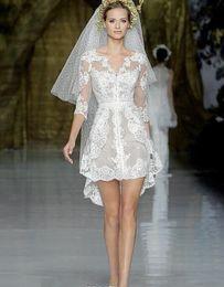 Wholesale Cheap Black Lace Mini Dress - Zuhair Murad 2016 Short High Low Sheer Wedding Dresses Mini Skirt Lace Applique Band Gown A line Cheap 3 4 Long Sleeves Gowns