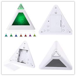 Wholesale Digital Led Pyramid - New Arrive 7 LED Color Changing Pyramid Digital LCD Snooze Alarm Clock Triangle Thermometer C F relogio de mesa reloj despertador