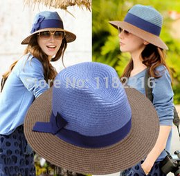 2017 wholesale boater hat Expédition gros-Mode Femmes Filles Chapeau de Paille Brim Fedora lin bowknot Trilby plaisancier Summer Beach Sun Hat gratuit promotion wholesale boater hat