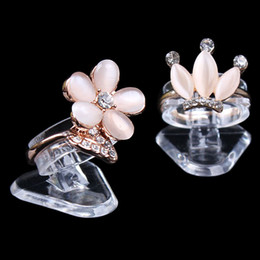 Wholesale jewelry ring stand clear - Economic Clear Ultra Mini Plastic Ring Holder Ring Display Stand Jewelry Rack Jewelry Display Stand Props