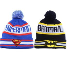 Wholesale superhero hats - 2017 Winter Autumn Warm Hats Women Men Superhero Batman Knitted Hats Hi-hop Caps for Adult with Cute Fur Ball Best Christmas Gift