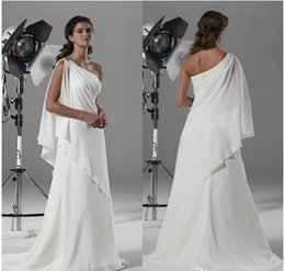 Wholesale One Shoulder Greek Wedding Dresses - New A-line Beach Wedding Dresses,White Chiffon One Shoulder Greek Vintage Fashion Exquisite Bridal Gown