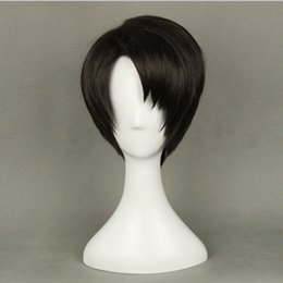 Wholesale Attack Titan Levi Wig - Wholesale-High quality Japanese Anime Attack on Titan Levi Rivaille Cosplay Wig Short Black Hair + a Wig Cap Free shipping