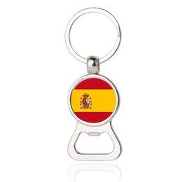 Gioielli spagna online-Portachiavi apribottiglie portachiavi Spagna Polonia Grecia Nuova Zelanda Ungheria Flag Car Portachiavi EDC Men Fashion Jewelry