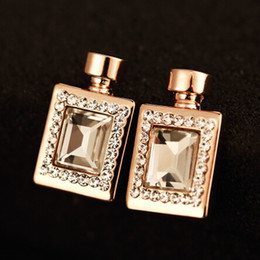 Wholesale Diamond Crystal Stud Earing - 18k gold plated brief diamond crystal perfume bottle earrings stud for women femme wedding party luxury earing with nice gift box