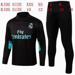 Wholesale New Kids Sportswear - kids aaa+THAI QUALITY new 17-18 Real Madrid kids soccer chandal white football tracksuit 2017-2018 training suit pants Sportswear
