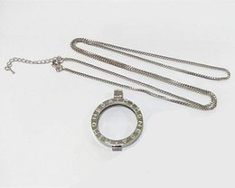 Wholesale Large Silver Chain Link Necklace - 10pcs lot Silver color Carving MI MONEDA 33mm Large Stainless Steel Frame Coin Holder with 80cm Chain