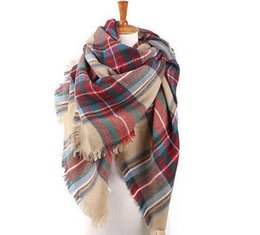 Wholesale Geometric Style Scarves - 2016 New Style Fashion pashmina scarves for women 12 colors Warm plaid scarves Winter Blanket Scarf LA143-6
