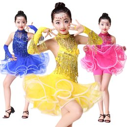 Wholesale latin salsa ballroom dance dress - Girls Tassels Sequined Latin dancing dress Kids Samba Ballroom Salsa Dance wear Outfits Party Stage wear costumes with Gloves