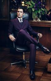 Wholesale Unique Design Clothes - Unique Design Grape Slim Fit Handsome Mens Suits For Wedding Groon Tuxedos Formal Prom Men Clothing Bridegroom Suit (Jacket+Pants+Tie)