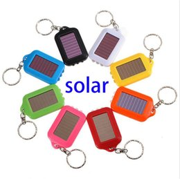 Wholesale Ultrafire Holder - Portable 9 Colors Solar Power Rechargeable 3 LED Solar Light LED Flashlight Keychain Light Torch Ring Holder