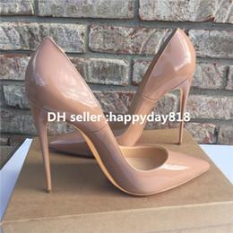 ufficio di cuoio Sconti Spedizione gratuita classico Office Lady moda donna pompe vera foto Nero Nude vernice punta a punta cono scarpe tacchi alti stivali