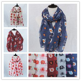 Wholesale Elephant Print Scarves - 2015 Exclusive New Style Cartoon Elephant Animal Voile Printed Shawls Scarves women Spring Ladies Scarf Shawl Unique
