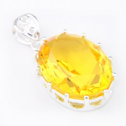 Wholesale Royal Necklaces Jewelry - Luckyshine 6Pcs Luckyshine Oval Classic Fire Royal Citrine 925 Sterling Silver Plated Pendants Russia Australia USA Pendants Jewelry