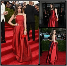 Wholesale Met Dress - 2016 Met Gala Hailee Steinfeld Sexy Simple Red Carpet Celebrity Evening Dresses Taffeta Backless A Line Halter Neck Vestido