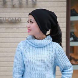 sciarpe da golf Sconti Double Thick Beanie Hats per donna e uomo Berretto a maglia di lana Caldo cappelli invernali Sciarpe Wraps Headwear 30pcs 6 colori