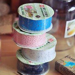 Wholesale Wholesale Shipping Tape China - 2016 new Free Shipping Arts and Crafts Rolls DIY Diary Hollow Decorative Stickers Lace Tape Stationery School Gift