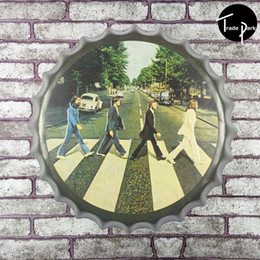 Wholesale 3d Painting Aluminum - 40cm Round beatles on Abbey Road beer bottle cap Metal sign bar poster 3D style