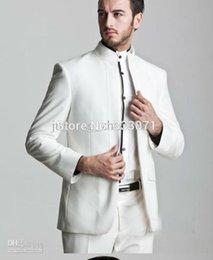 Wholesale Measure Wedding Dress - Wholesale-Custom by measure Business Groom Tuxedos 2015 New White Formal Men's Suits Groomsman Bridegroom Wedding Dress (Jacket+Pants)