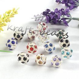 Wholesale Rhinestone Football Beads - wholesale 30Pcs Charms Silver Plated Mixed Colorful Austrian Crystal Rhinestone Football European Beads Findings Jewelry(Random Color)