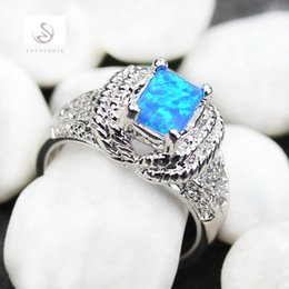 Wholesale Fire Opal Rings Wholesale - Blue fire opal with little white Cubic Zirconia fashion Silver Plated ring R352 size 7 8 9