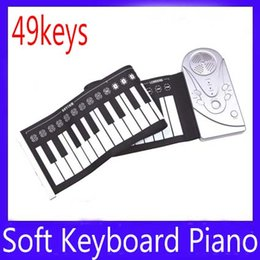 Wholesale Free Piano Roll - 49 keys roll up Electronic piano keyboard 2pcs lot free shipping