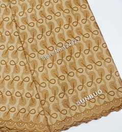 Wholesale Brown African Lace Fabrics - Brown Good smooth feeling 100% Polish cotton African swiss lace for men and women lace fabric with eyelet holes 9101 high quality